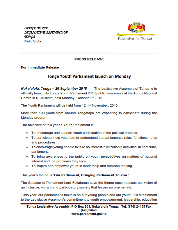 PRESS RELEASE for Youth Parliament 2809018 FINAL 001